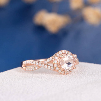 6mm Round  Morganite Antique Retro Rose Gold Engagement Ring