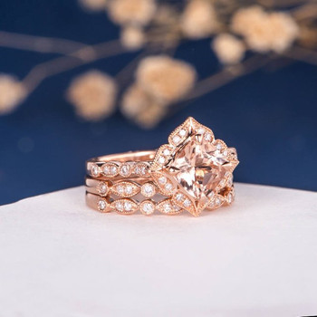 7mmCushion Cut Morganite Halo Diamond  Bridal Set Retro 3pcs