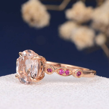 6*8mm Oval Cut Moraganite  Red Ruby Rose Gold Anniversary Ring