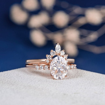 7*9mm Oval Cut Moissanite Engagement Ring Set