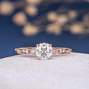 6.5mm Round Moissanite Anniversary Ring Diamond Wedding Ring