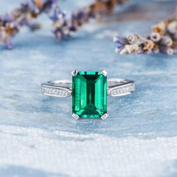 7*9mm Lab Emerald Engagement Ring Emerald Cut Wedding Ring