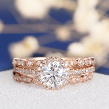 6.5mm Round Cut Moissanite  Art Deco Wedding Band  Engagement Ring Set