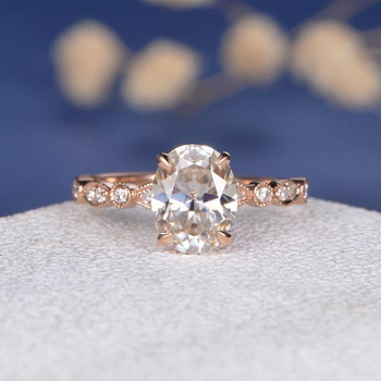 7*9mm Oval Moissanite Anniversary Ring Diamond Wedding Ring