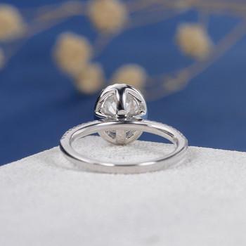 White Gold 6*8mm Oval Cut Moissanite Diamond Halo Half Eternity Engagement Ring