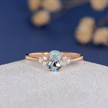 Rose Gold 5*7mm Oval Cut Aquamarine Cluster Engagement Ring