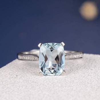 8*10mm Cushion Cut Blud  Aquamarine Anniversary Ring