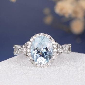 8*10mm Oval Cut  Aquamarine Split Shank Eternity Cross Engagement Ring