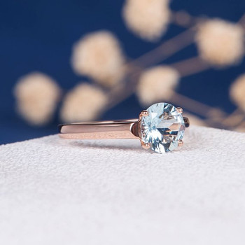 7mm Round Aquamarine Solitaire Engagement Ring