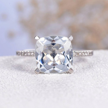 9mm Cushion Cut  Aquamarine Pave Diamond Eternity  Engagement Ring