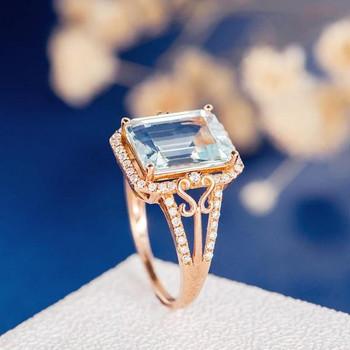 8*10mm Emerald Cut  Aquamarine Flower Diamond Retro Engagement Ring
