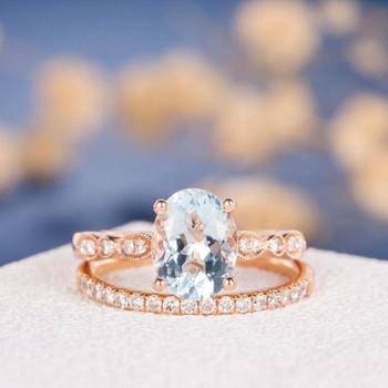 7*9mm Oval Cut Aquamarine Eternity Diamond Engagement Ring Set