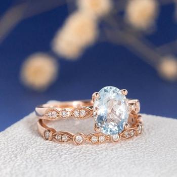 7*9mm Oval Cut Aquamarine Art Deco Engagement Ring Set