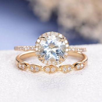 7mm Round Cut Aquamarine Diamond Pave Eternity Band Engagement Ring Set