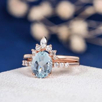 7*9mm Oval Cut Aquamarine Unique Engagement Ring Set
