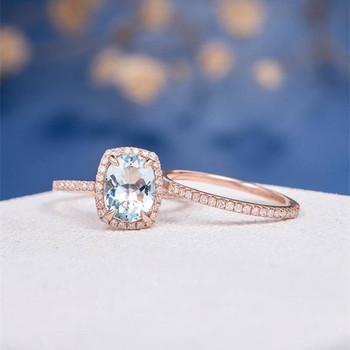 7*9mm Oval Aquamarine Eternity Diamond Pave Engagement Ring Set