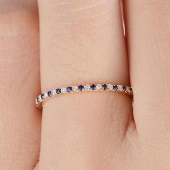 Full Eternity Mini Thin Diamond Sapphire Wedding Band