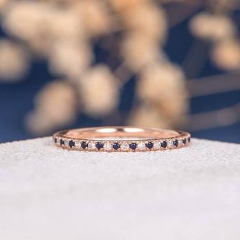 Rose Gold Full Eternity Mini Thin Diamond Sapphire Wedding Band