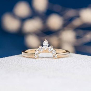 Yellow Gold Wedding Band Marquise Diamond Anniversary ring