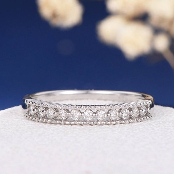 White Gold Micro Pave Beaded Diamond Eternity Anniversary Ring