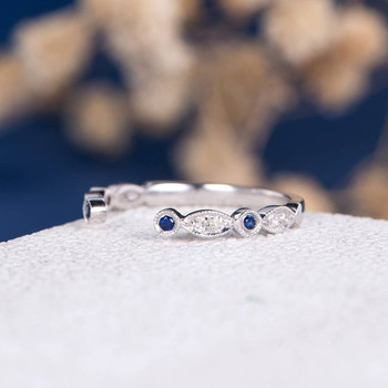 Open Cuff Art Deco Sapphire Diamond Wedding Band