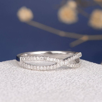 White Gold Diamond Stacking Eternity Cross X Shaped Wedding Band