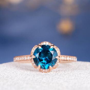 7mm Round Cut Unique London Blue Topaz Halo Flower Engagement Ring