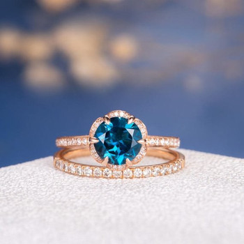 7mm Round Cut London Blue Topaz Halo Eternity Stacking Engagement Ring Set