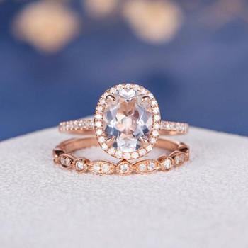 7*9mm Oval Cut White Topaz art Deco Wedding Band Engagement Ring Set