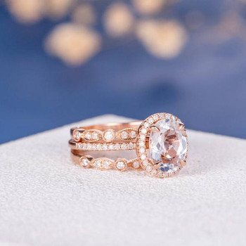 7*9mm Oval Cut White Topaz  Art Deco Halo Eternity Engagement Ring Set
