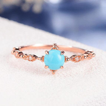 Turquoise Ring Antique Round Cut Engagement Ring