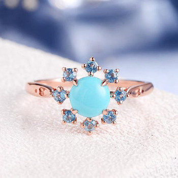 Unique Turquoise Ring Rose Gold Flower Antique Cluster Engagement Ring