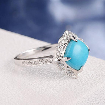 Cushion Cut Turquoise Art Deco Cluster Halo Diamond Engagement Ring
