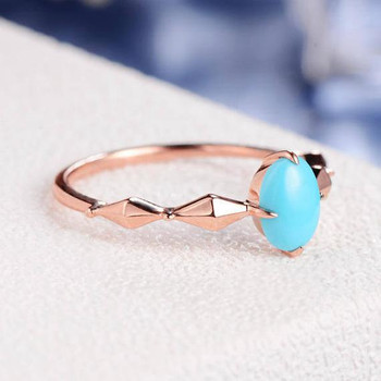 Geometric Eternity Band Solitaire Rhombus Faceted Trendy Turquoise Ring