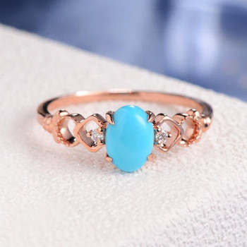 Antique Oval Cut Turquoise Art Deco Engagement Ring
