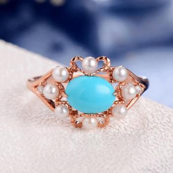 6*8mm Turquoise Halo Akoya Pearl Diamond Split Shank Engagement Ring