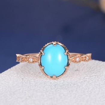 Turquoise Eternity Band Beaded Milgrain Multistone Diamond Engagement Ring