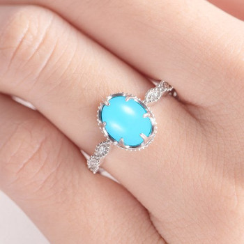 White Gold Turquoise Eternity Band Beaded Milgrain Engagement Ring
