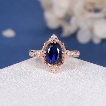7*9mm Oval Art Deco Lab Sapphire Ring Antique Engagement Ring