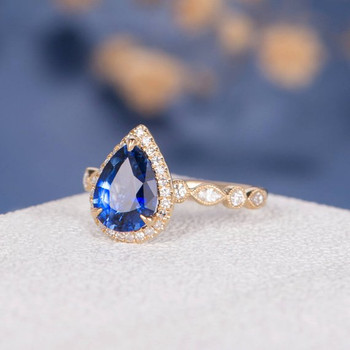 7*9mm Pear Shaped Lab Sapphire Ring Antique Engagement Ring