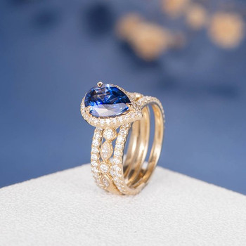 7*9mm Pear Shaped Lab Sapphire Art Deco Stackable  Engagement Ring Set