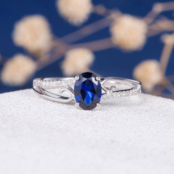 White Gold  5*7mm Oval Lab Sapphire Unique Curved Engagement Ring