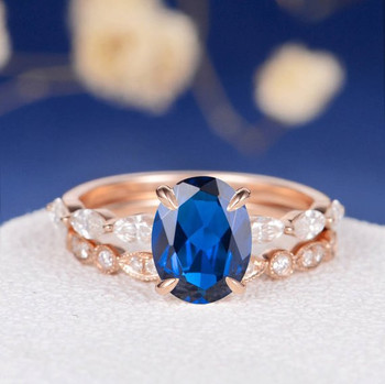 7*9mm Oval Lab Sapphire Art Deco Stackable  Engagement Ring Set
