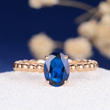 6*8mm Oval Lab Sapphire Beaded Eternity Engagement Ring