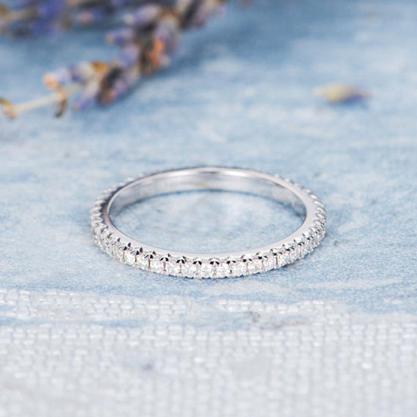 14K White Gold Diamond Wedding Band Stacking Full Eternity Ring