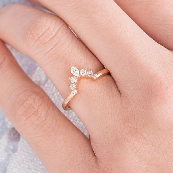 14K Rose Gold Wedding Band Marquise Diamond Anniversary ring