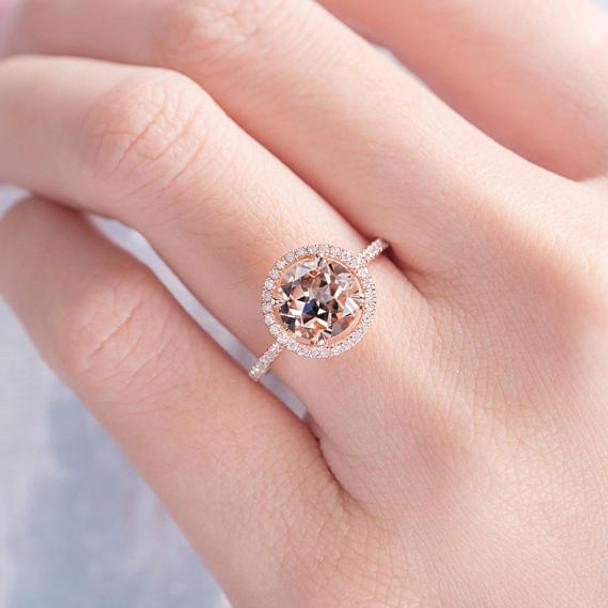 8mm Round Morganite Engagement Ring Diamond Halo Ring