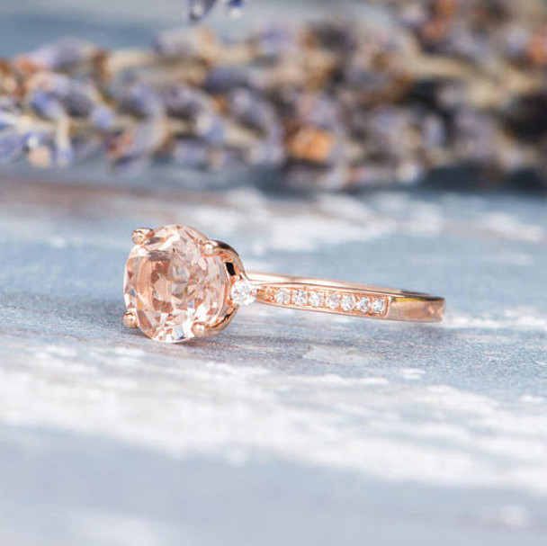 Antique 7mm Round Morganite Engagement Rose Gold Wedding