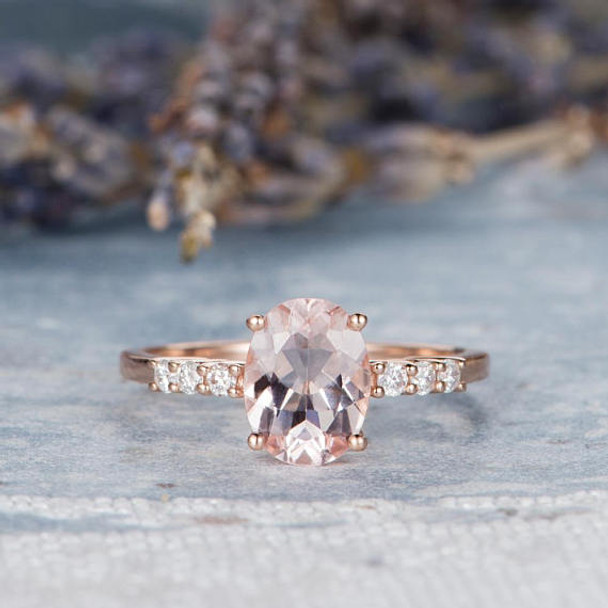7*9mm Pink Morganite Ring Oval Cut Engagement Ring