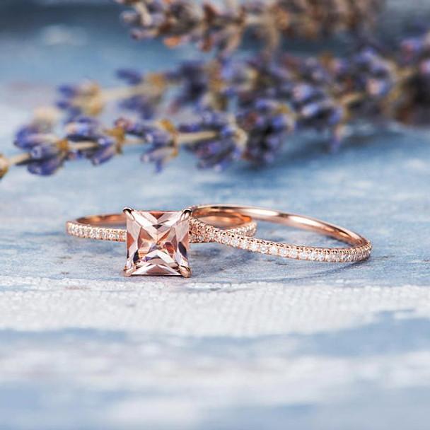 7mm Princess Cut Engagement Morganite Bridal Set